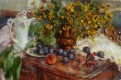 Painting - The still life with figs - Nelina Trubach-Moshnikova